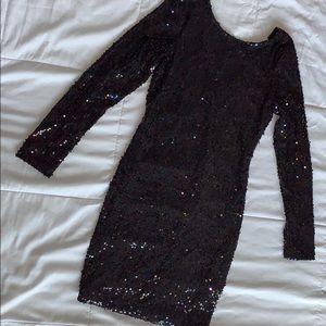 Motel Rocks Sequin Black Dress